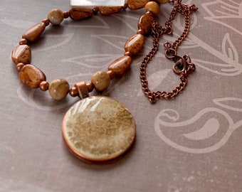Natural Stone Necklace Set, Brown Agate Stone Necklace and Earrings Resin Faux Fossil in Round Copper Colored Bezel Unique, One of a Kind