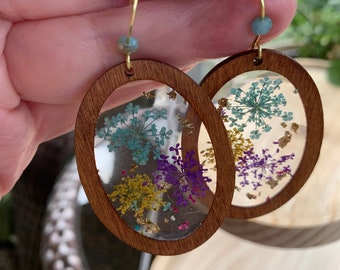 Real Pressed Flower Earrings Large Wooden oval hoop pressed flowers in resin earrings boho style jewelry