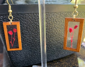 Real Pressed Flower Earrings Small wood rectangle dangle earrings with red flower in resin