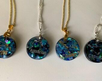 Zodiac Necklace Resin Jewelry Birthday Aries, Aquarius, Capricorn, Cancer, Gemini, Leo, Libra, Pisces, Sagittarius, Scorpio, Taurus, Virgo