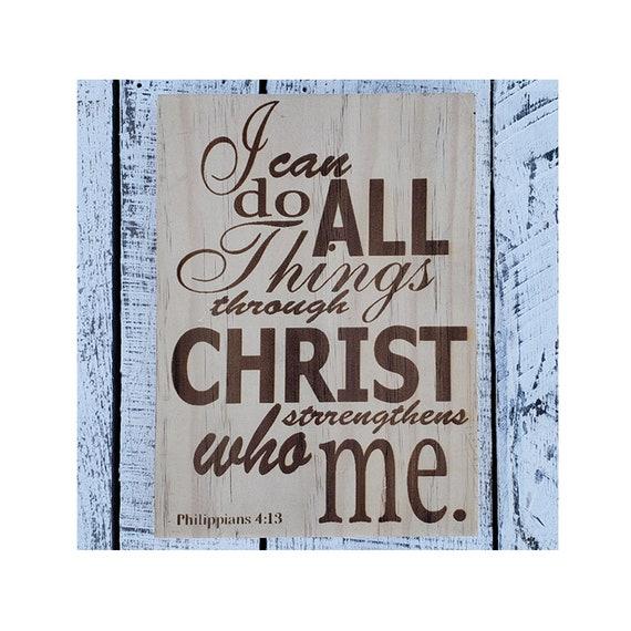 New ~ Glass FAITH Inspirational Plaque ~ States Philippians 4:13