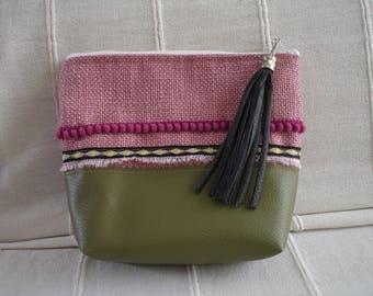 Pouch/clutch, faux leather khaki woven pink