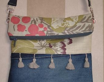 shoulder bag in denim and linen
