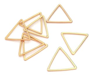 10 golden triangle, rings, soldered, 17mm brass