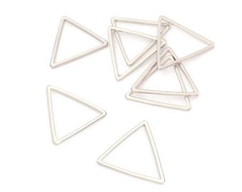 x 10 Triangle charm, 17mm, soldered brass rings