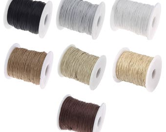10 meters of thread waxed cotton cord - 1 mm (black, Brown, natural, beige, String, gray, white)
