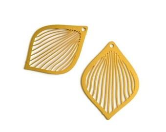 x 2 large prints drops chandelier filigree gold brass, 38 mm