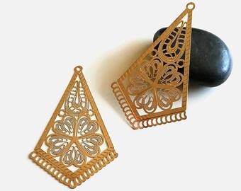 x 2 large prints diamond chandelier filigree gold brass, 65 mm
