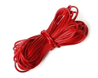 5 meters of thread cord waxed polyester - 1.5 mm-Red