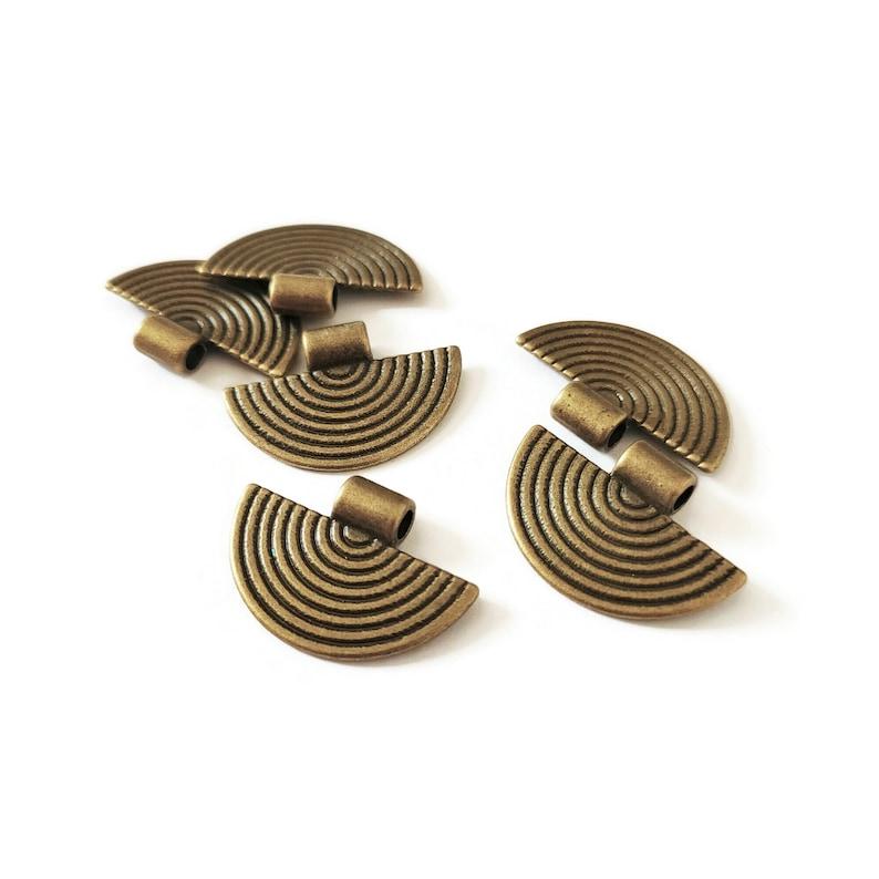 10 semi-circle charm pendants half-round connectors 25mm image 1