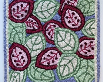 Leaf Punch Needle, Rug Hooking pattern Monk's Cloth 24x23 inch- Serged Edges, fits 18x18 inch frame