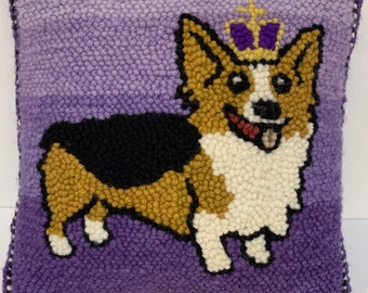 Corgi Patterned Monk's Cloth 24x23 inch piece for Rug Hooking - Serged Edges, fits 18x18 inch frame