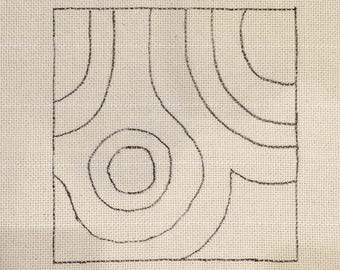 Punch Needle Rug Hooking Pattern, fits 12x12  inch frame