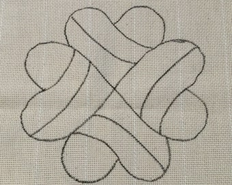 Hearts Punch Needle Rug Hooking Pattern, fits 12x12  inch frame