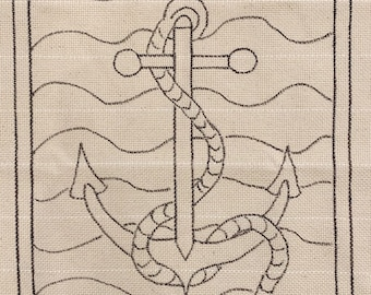 Patterned Monk's Cloth 24x23 inch piece for Rug Hooking - Serged Edges, fits 18x18 inch frame