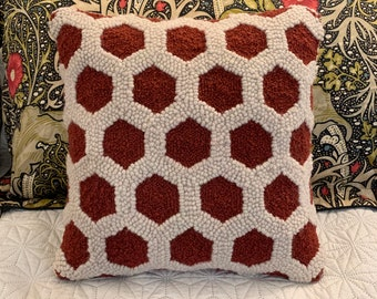 Hexagon Patterned Monk's Cloth 24x23 inch piece for Rug Hooking - Serged Edges, fits 18x18 inch frame