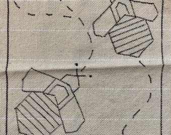 Bees Punch Needle Rug Hooking Pattern, fits 12x12  inch frame