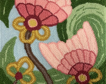 Punch Needle, Rug Hooking pattern Monk's Cloth 24x23 inch- Serged Edges, fits 18x18 inch frame