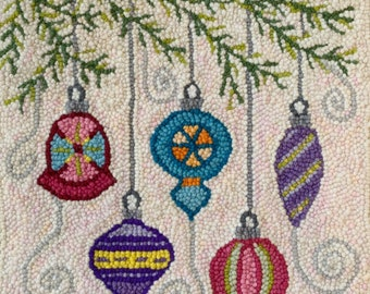 Christmas Ornament Patterned Monk's Cloth 24x23 inch piece for Rug Hooking - Serged Edges, fits 18x18 inch frame