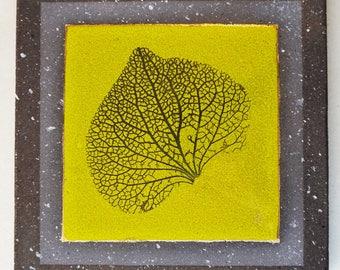 "Trivet glazed lava ""framing ribs leaf"""