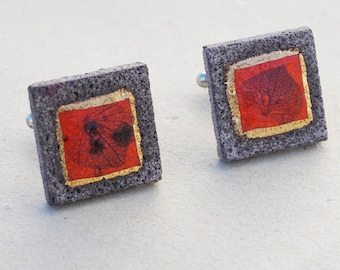 Red ribbed square glazed lava cufflinks leaf