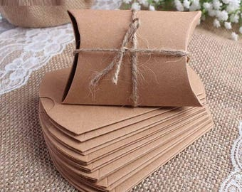 Kraft Pillow Boxes, Wedding Favor Box, Candy Box, Gift Boxes, Wedding Favour gift boxes, Eco gift boxes, Recyclable