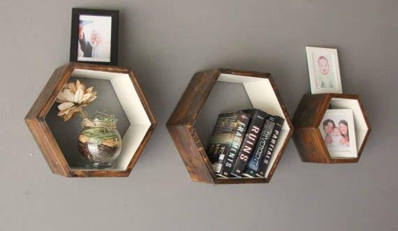 Set Of 3 Rustic Geometric Shelves Hexagon Shelf Modern Etsy