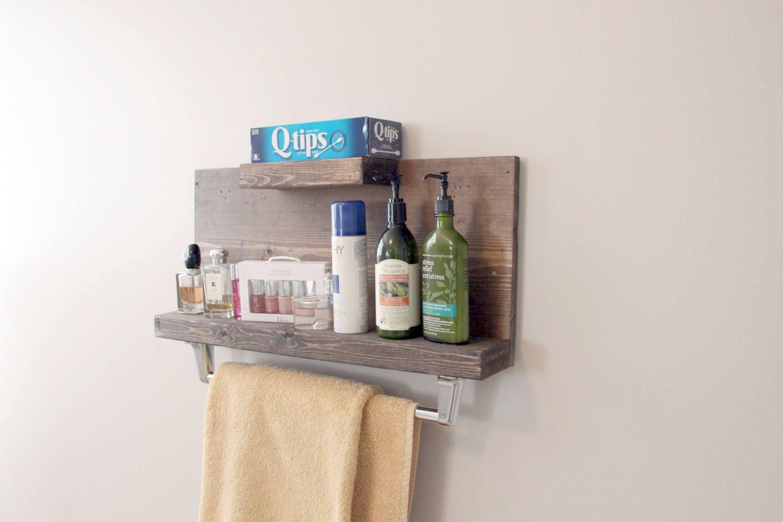 Modern Rustic 2 Tier Bathroom Shelf with Towel Bar Floating | Etsy