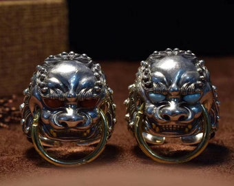 Buddhist lion Buddha ring (佛狮), Feng Shui in Silver 925 and copper, turquoise of Arizona or NaN Hong of Yunnan.