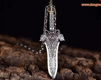 Pendant, ritual sword of Taoist exorcism fachang. Demon protection, protection from serious diseases. Silver 925.