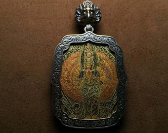 amulet protective Tibetan chenrezi thousand arms in Sterling Silver 925 Tangka hand painted