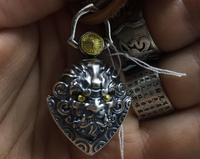 """Taoist protection amulet, pendant, """"ghost hunting"""" bell shaped kirin. 925 Silver and copper."""