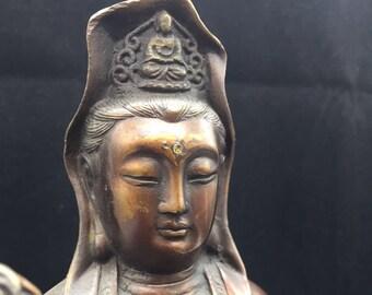 Buddhist statue bronze and copper bodhisattva Avalokitesvara (Guan Yin), Amitabha