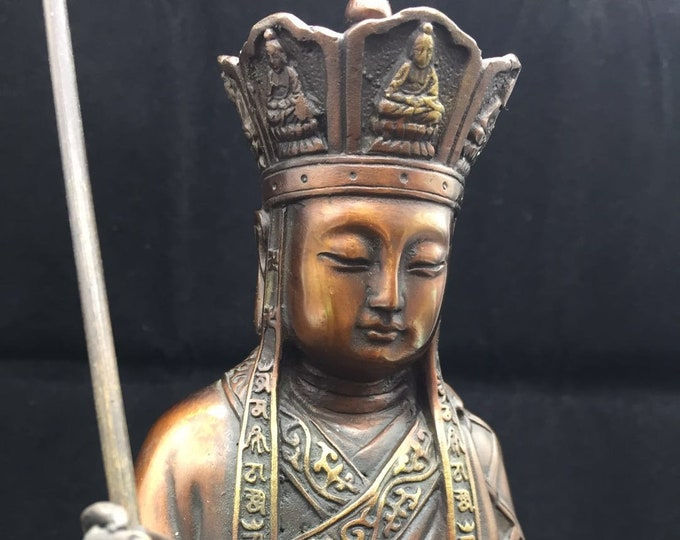 Buddhist statue bronze and copper bodhisattva Kshitigarbha /Dizang Pusa