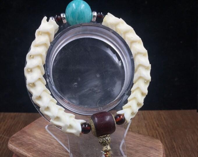Bracelet, snake vertebrae, amazonite, red amber from Burma, 925 sterling silver