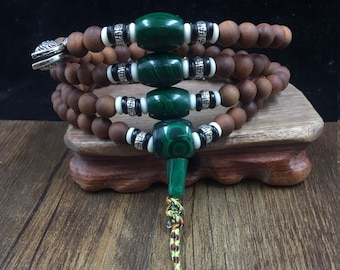 mala, Buddhist rosary, white sandalwood, malachite, silver 925, yak bone and buffalo horn