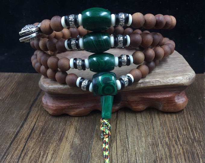 mala, Buddhist rosary, white sandalwood, malachite, silver 925, yak bone and buffalo horn