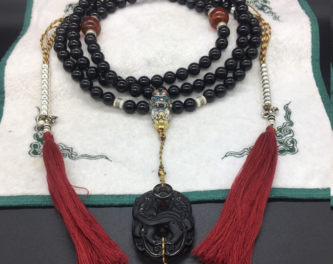 mala,Buddhist chapel,108 obsidian eye pearls celeste 14 mm in diameter,silver and copper dragon,obsidian pixiu ice,amber red