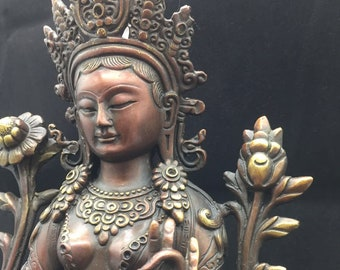 Buddhist statue bronze and copper deity Tara in her green form