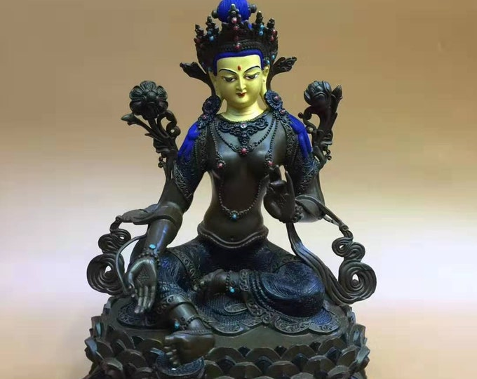 Tara Tibetan statue as green, Bronze, hand painted. Unique piece.
