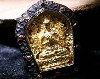 Samantabhadra Tibetan protection amulet wood ebony, Silver 925 plated 18K gold, set gems