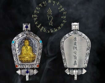 Vairocana tibetan protection amulet in solid silver 925, plated gold 18k, cornaline, turquoise, lapis lazuli