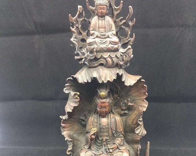 Buddhist statuette bronze and copper bodhisattva Avalokistesvara, Amitabha
