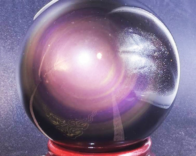 Exceptional sphere in obsidian eye celeste quality A. 0.307 kg 19.5cm in circumference 62mm in diameter