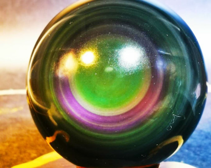 Exceptional sphere in obsidian eye celeste quality A. 0.785 kg 86mm in diameter