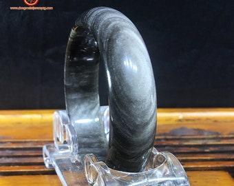 silver obsidian bracelet, unique piece. 62mm aperture, 20mm wide