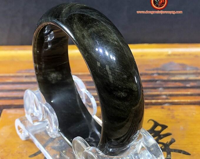 gold obsidian bracelet, unique piece. 62mm aperture, 20mm wide