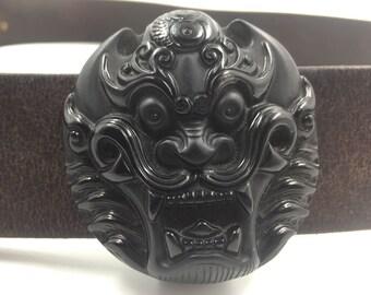 decorative tie belt dragon feng shui black Obsidian.