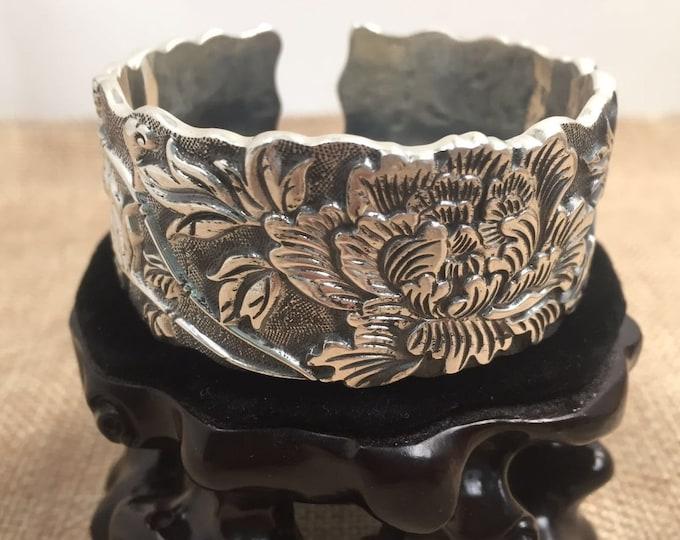 Bangle Bracelet in 925 sterling silver floral
