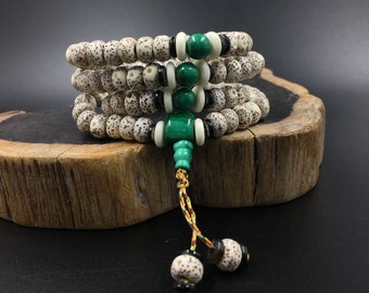 Mala Buddhist rosary (pipal) sacred fig seeds, malachite, yak bone